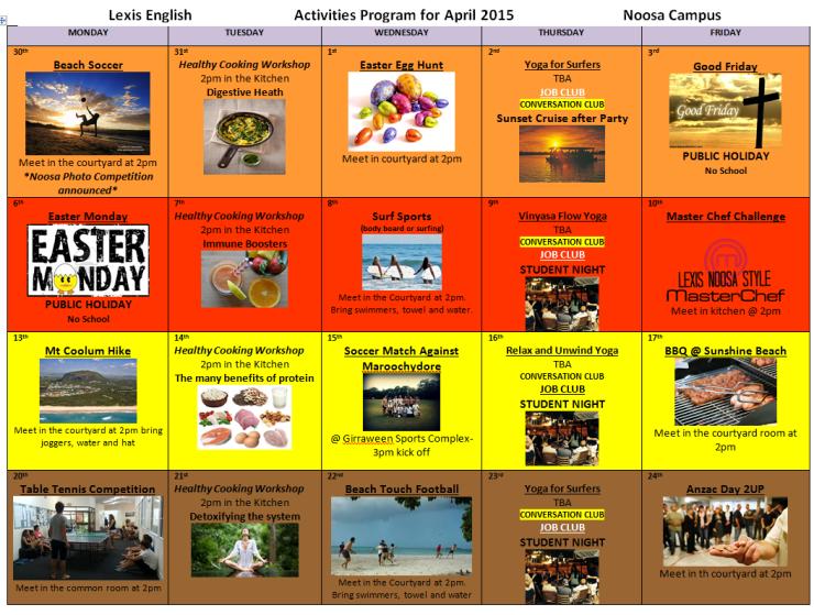 Activitys April 2015 newest