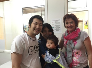 Yuji, Kazume and baby Ryusei with teacher Kerri Deacon