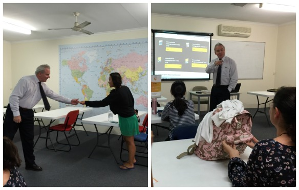 On the left Paul with Russian student Elena, and on the right giving a presentation on higher education courses at USQ.